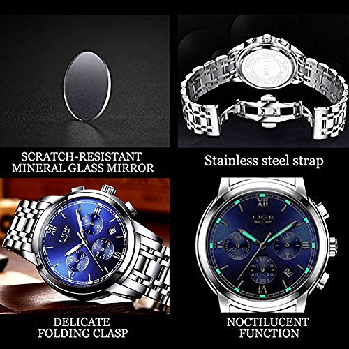 Men's Watches,Stainless Steel Band Waterproof Quartz Watch, LIGE Luxury Business Analog Chronograph Date Wrist Watch by LIGE (Image #4)