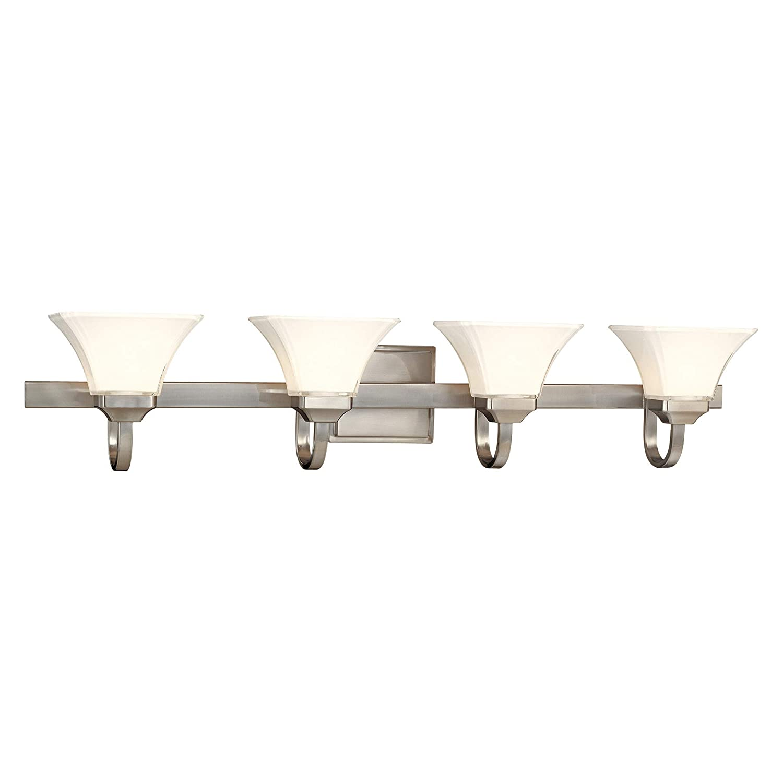 Minka Lavery Wall Light Fixtures 6814-84 Agilis Reversible Glass Bath Vanity Lighting, 4 Light, 400 Watts, Nickel