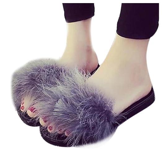 Women Flat Slipper Inkach Stylish Girls Flip Flops Faux Fuzzy Fur Slide Slip On Flat Sandal Slipper Shoes