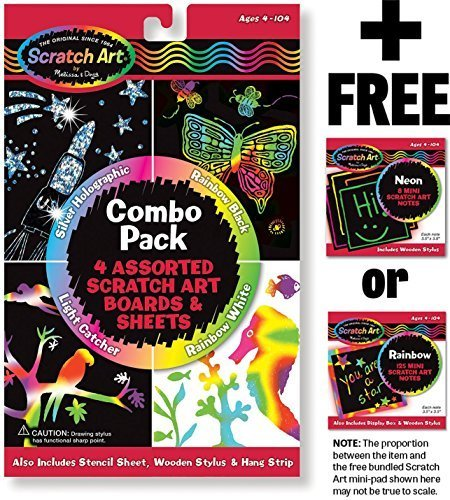 Combo Pack: Scratch Art Boards & Sheets + FREE Melissa & Doug Scratch Art Mini-Pad Bundle - Sheet Return