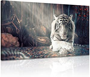 Derkymo White Tiger Meditation Picture Prints on Canvas Animal Wall Art Zen Artwork Paintings for Home Decoration Stretched and Framed Ready to Hang 20x36 Inches