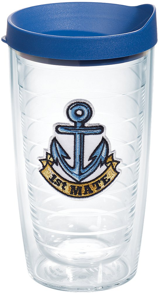 Tervis 1167473 1st Mate Anchor Tumbler with Emblem and Blue Lid 24oz Clear