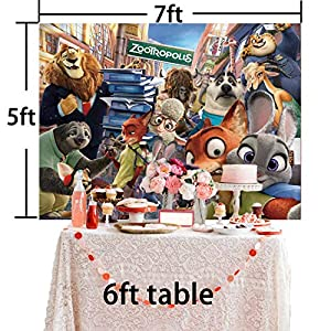 Zootopia Backdrop Cartoon Theme Birthday Banner Party Kids Happy Birthday Baby Shower Photo Background Cake Table Banner Booth Studio Props