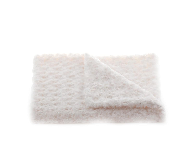 Pink and Ivory 30 x 30 Tourance Rosebud Classic Crib Blanket