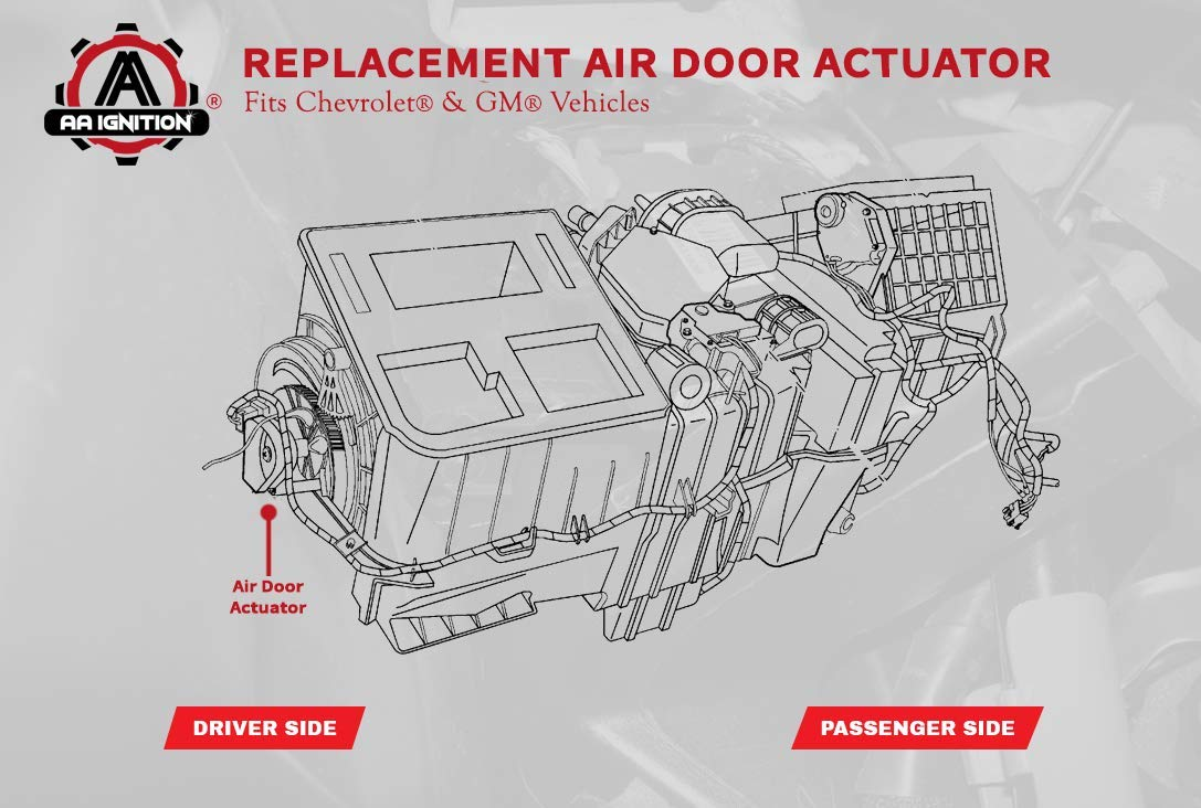 Air Door Actuator - Replaces 15-73952, 52495593, 89018374, 604-112 - Fits  2003-2014 Chevrolet, Chevy, GMC, Cadillac, Hummer Models - HVAC Blend