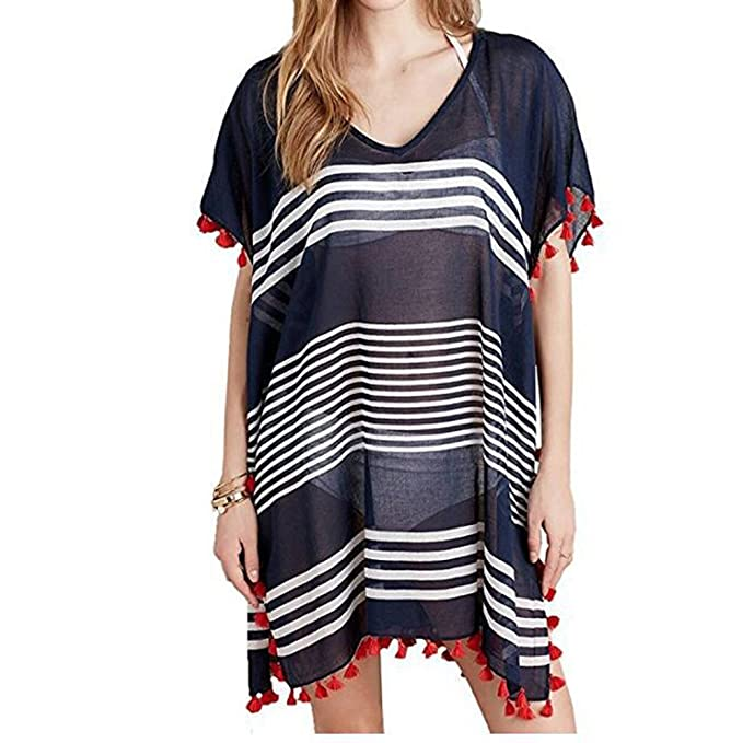 7867890476 Multitrust Women Perspective Stripe Print Tassel Swimsuit Cover Up Dress  Kaftan Bikini Swimwear Cover-Ups
