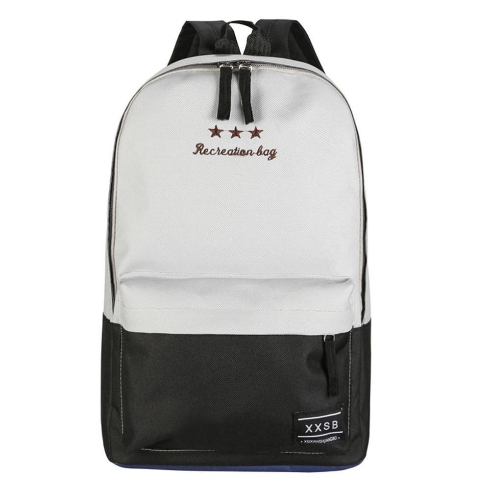 LQQSTORE zaino per studenti, Ricreazione borsa donna viaggio tela Hit colore splicing borsa scuola zaino Borsa