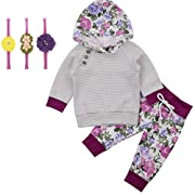 Askwind Baby Girls Floral Hoodie+ Floral Pant Set Leggings 2 Piece Outfits (6-12 Months, Purple1)