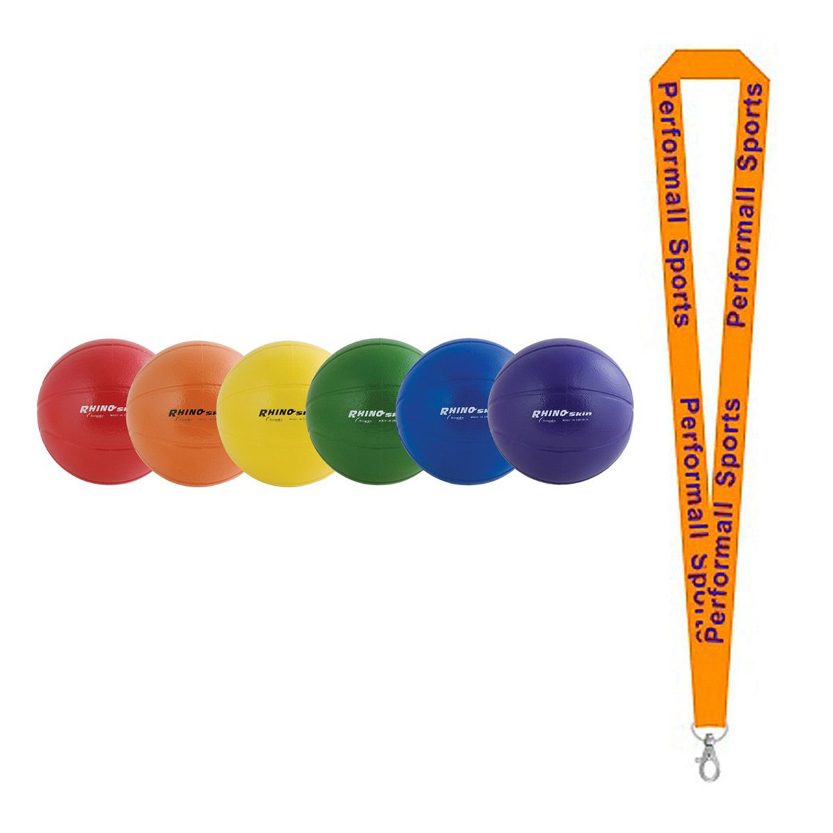 Champion Sports Rhino Skin Ball Set Assorted with 1 Performall Lanyard RS9SET-1P by Performall Sports Dodgeballs