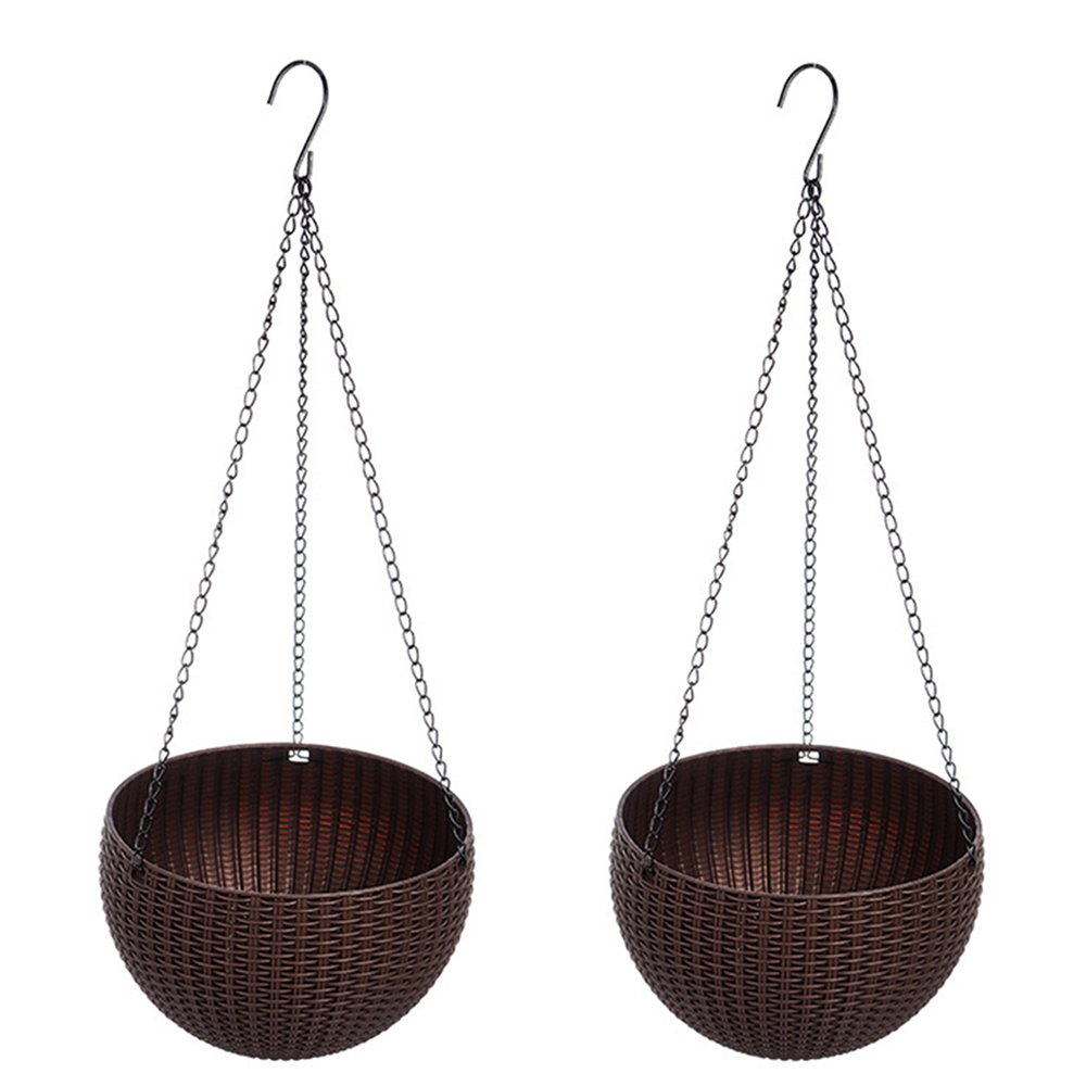 Yunhigh Hanging Planter Baskets, Hanging Plant Pot with Drainage Self Watering Indoor Outdoor Round Flower Pot Garden Balcony Patio Home Decoration, Set of 2 - Coffee