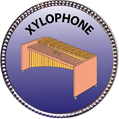 Keepsake Awards Xylophone Award, 1 inch Dia Silver Pin Musical Instrument Masteries Collection: Toys & Games