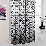 Emma Barclay Hathaway Jardin Lace Curtain Panel, Black, 57 x 90 Inch