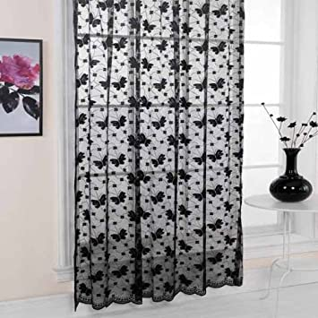 Emma Barclay Hathaway Jardin Lace Curtain Panel, Black, 57 x 90 ...
