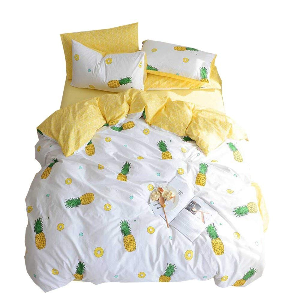 Enjoylife 100% Cotton Soft Children/Adults Duvet Cover Set Yellow Fruits Printed Pattern Reversible Boys Girls Bedding Set Pineapple 3 Pieces with 2 Pillow Cases Best Bedding Gifts Queen/Full Size
