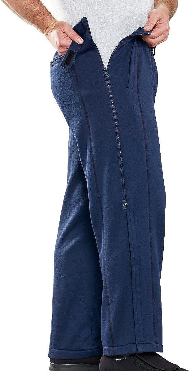 Silvert's Mens Zipper Tearaway Pants for Arthritis, Catheters - Navy LGE