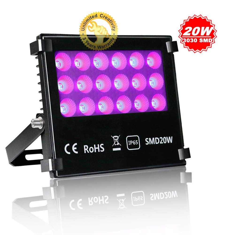 JSVSAL UV LED Blacklights, 20W Ultra Violet LED Flood Light for DJ Disco Club,Night Clubs,UV Light Glow Bar,Birthday Parties,Blacklight Party,Aquariums and Other Entertainment Venues Stage Lighting