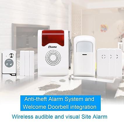 Ehome Acousto-optic hogar sistema de alarma de seguridad inalámbrica, inalámbrica PIR Detector de