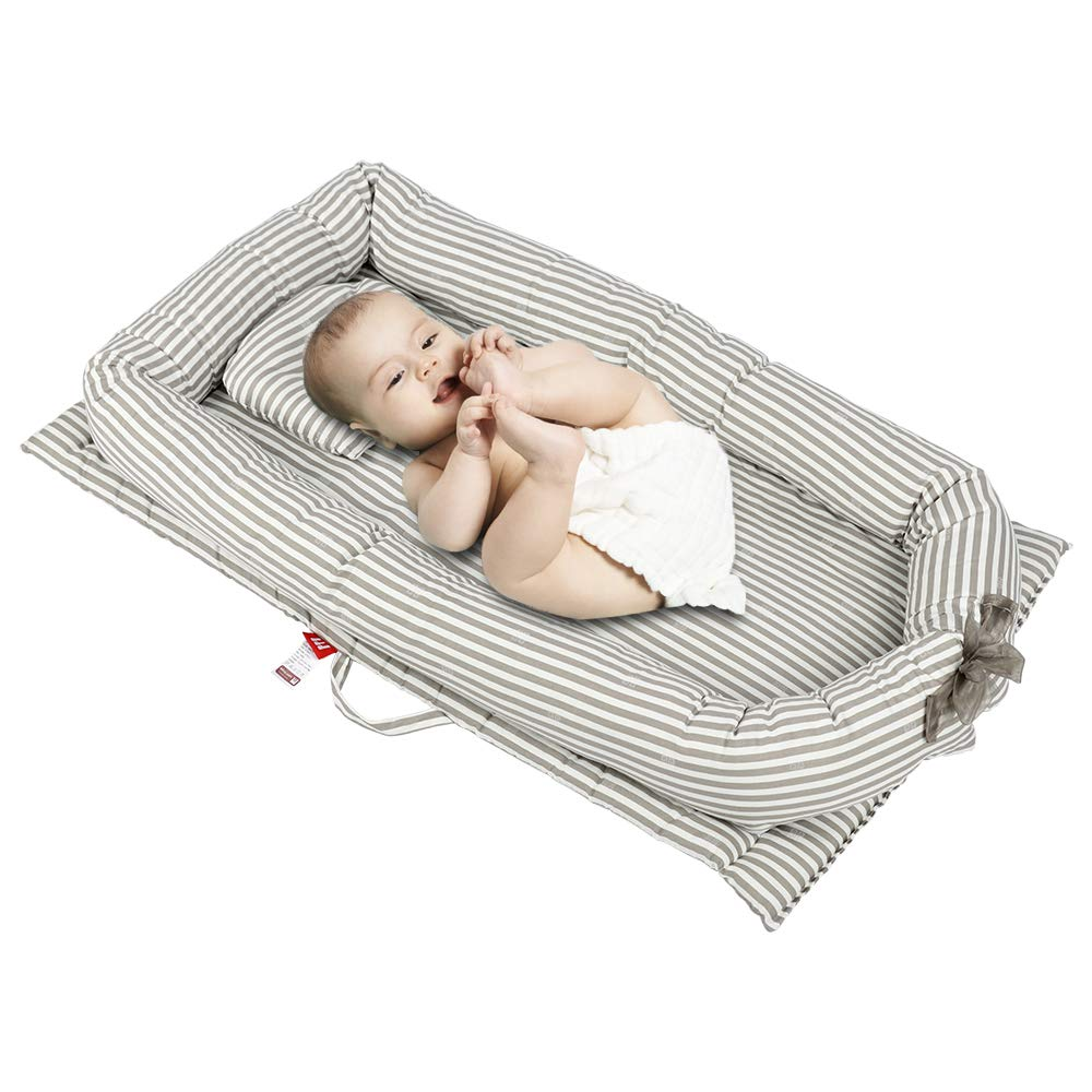 Breathable and Hypoallergenic Sleep Nest Newborn Lounger Pillow Portable Baby//Infant//Newborn//Toddler Travel Bed Crib Keebgyy Baby Bassinet for Bed