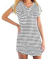 YUNY Women Retro Stripe V-neck Short Sleeves Short Dovetail Dress White