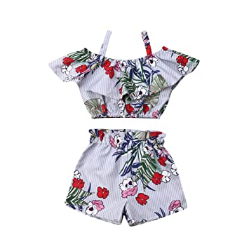 Toddler Kids Baby Girl Summer Outfits Ruffled Tops Floral Shorts Pants 2PCS Set