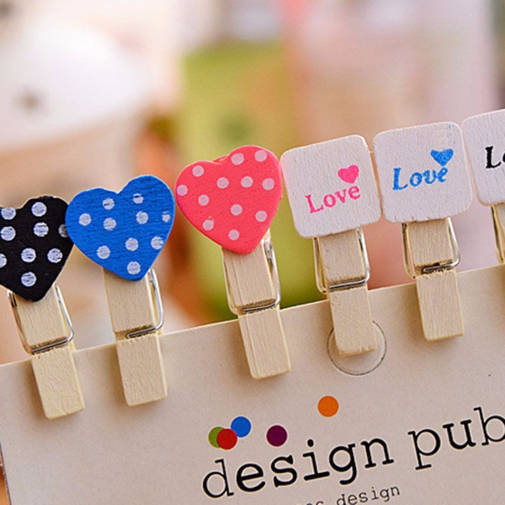 Qinlee 10pcs Wooden Photo Clips Clothes Paper Mini Heart Wooden Pegs Clothespins Clips for Hanging Photos Art Craft DIY Picture and 1 Roll Jute Hemp Cord Ropes