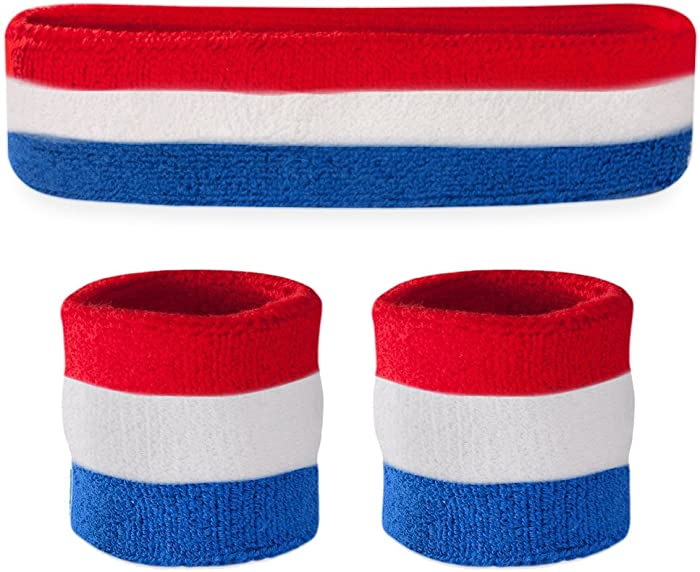 Suddora Striped Sweatband Set - (1 Headband and 2 Wristbands) Cotton for Sports & More.
