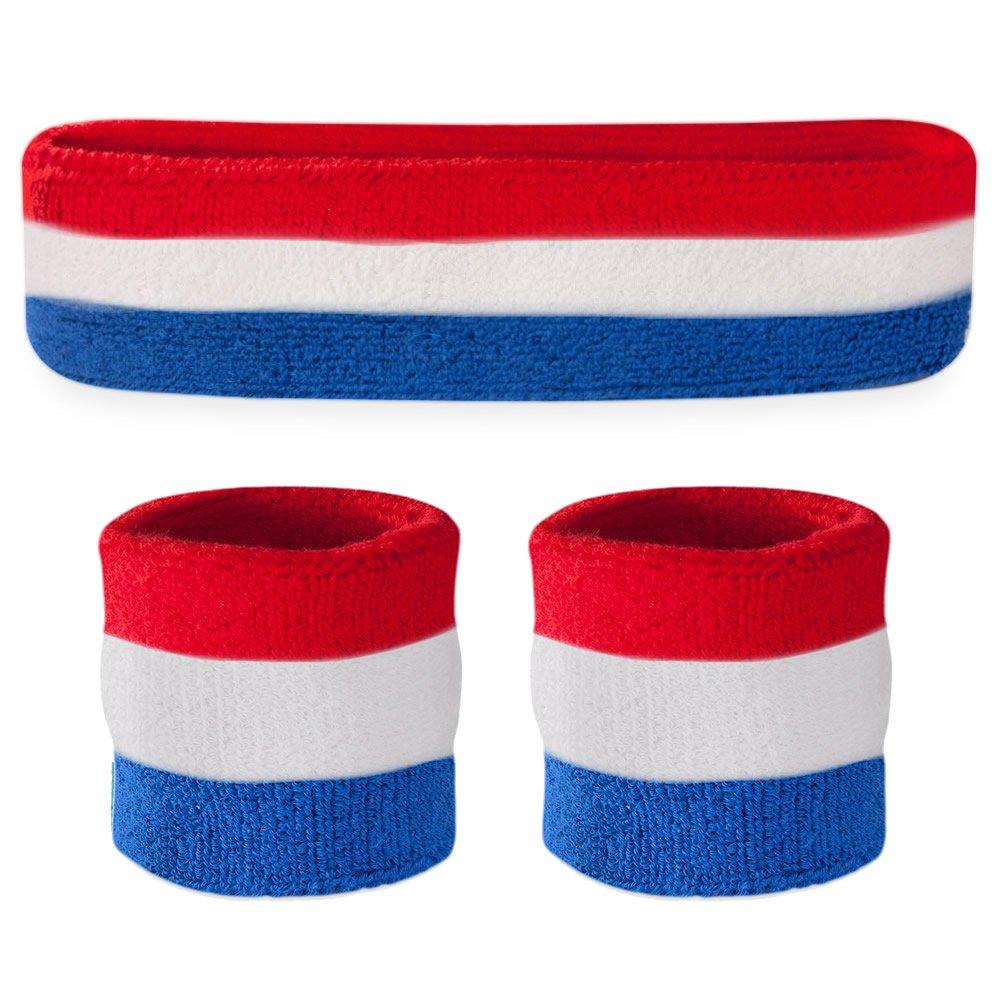 suddora rayas–Set de banda diadema (1y 2pulseras) alta calidad para deportes de algodón y más.