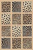 Black 2X4 Carved Africa Safari Animal Skin Modern Mat Rug