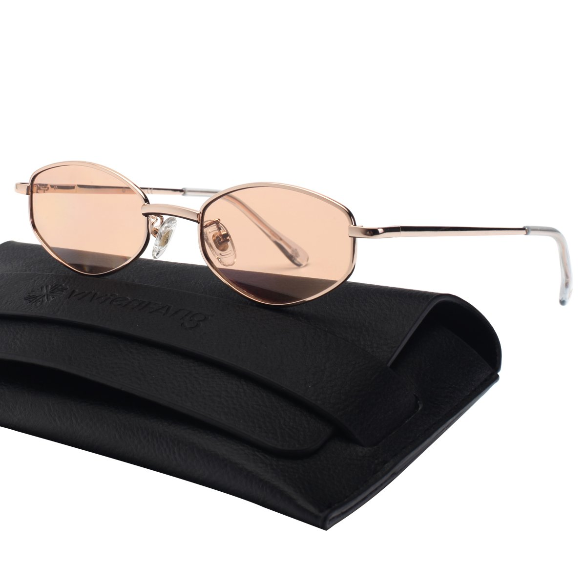 VIVIENFANG 90's Vintage Small Oval Sunglasses Tinted Lens Tiny Metal Shades For Men Women G87810D Gold