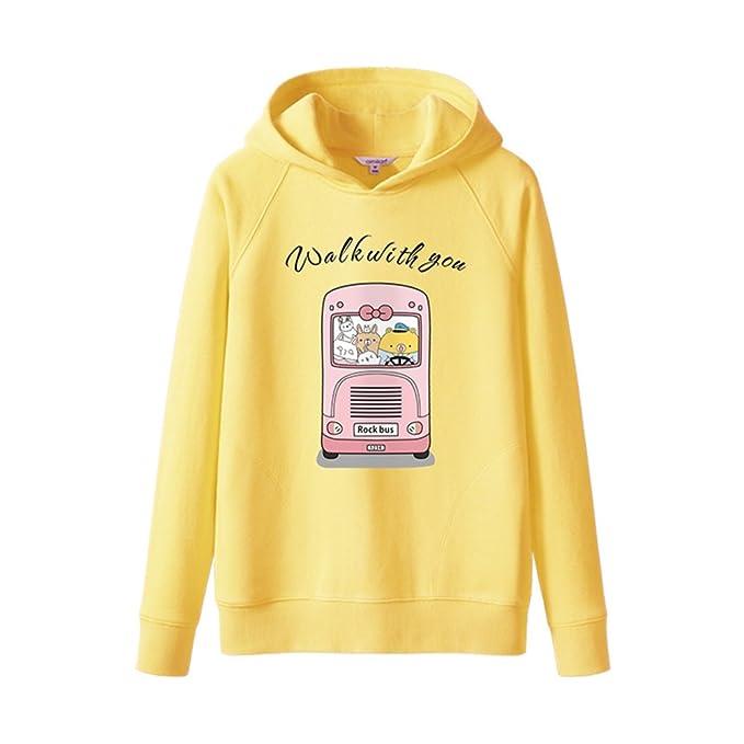 Blusa con capucha de la señora 100% algodón manga larga sudaderas de dibujos animados-amarillo L: Amazon.es: Ropa y accesorios