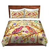 DiaNoche Designs Love Birds Cover, 7 Queen Duvet Sham Set