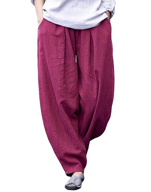 Happy Cherry - Mujer Pantalones Bombachos Harem de Yoga Deporte Baile Danza  de Ocio Ancho Suelto Primavera Verano Otoño - Burdeos  Amazon.es  Ropa y ... c6416c915ffb