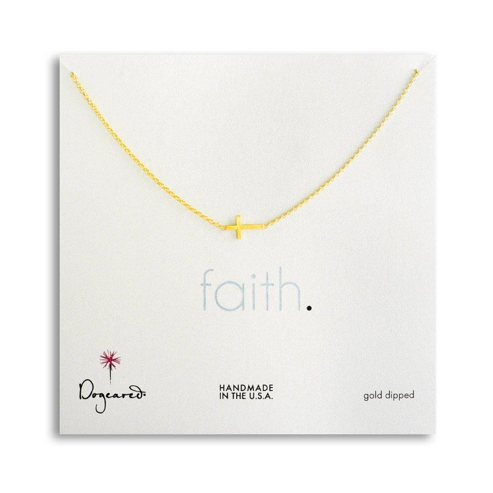 Dogeared Faith 14k Gold Dipped Silver Sideways Cross Necklace, 16''+2'' Extender