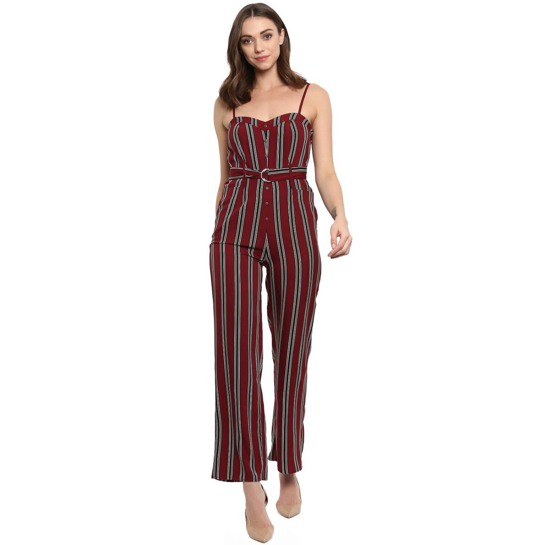 7cfec71e6a03 Spotstyl wine black stripe belted dungaree jumpsuits for women jpg  1500x1500 Wine jumpsuit