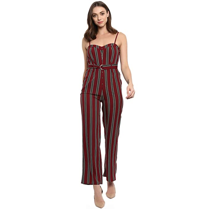 faf5e27ae0c Spotstyl Women s and Girl s Crepe Stripe Belted Full Length Summer Western  Party Wear Jumpsuit (SSJ0008