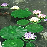 4PCS Set Artificial EVA Floating Foam Aquarium Foliage Floating Lotus Leaf Decor Pool Fish Tank Pond Leaves Home Garden Decoration (40cm)