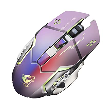 2400DPI Wireless Rechargeable 6 Buttons RGB Backlight Silent Gaming Mouse Mice