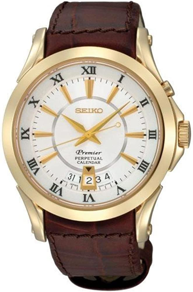 Seiko Men s Premier Goldtone Leather Strap Perpetual Calendar Watch