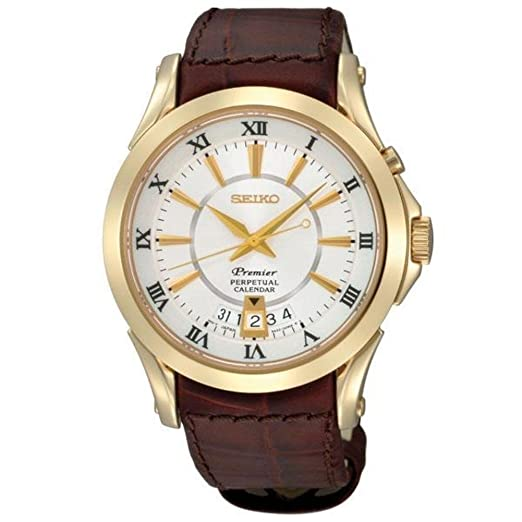 Amazon.com  Seiko Men s Premier Goldtone Leather Strap Perpetual Calendar  Watch  Watches 80095b2de