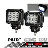 "Pandamoto 2 Pack 4"" 18w CREE LED Work Light Bar Spot Beam Driving Lamp for Off-road Truck Car ATV SUV Jeep Boat 4WD"