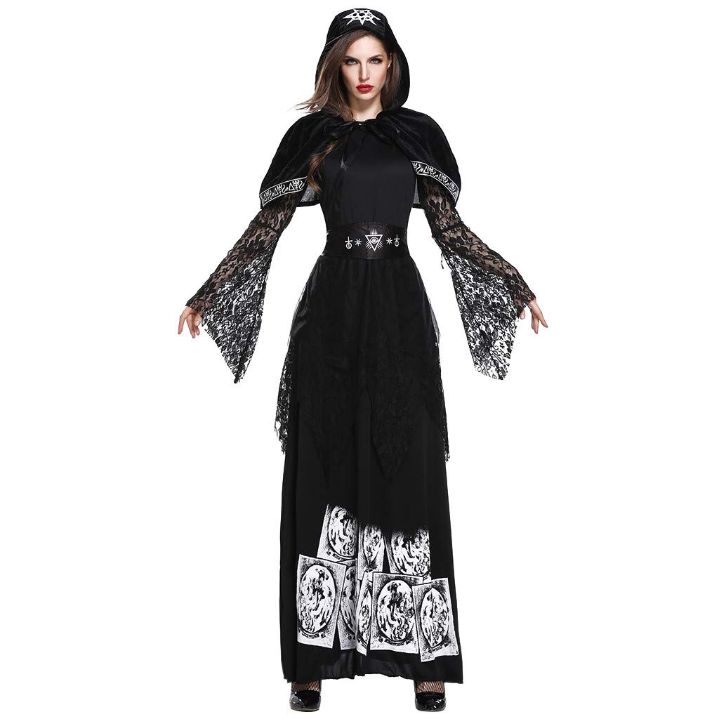 Chirpa Halloween Costume, Fashion Women Halloween Cosplay Princess Dress Vintage Style Witch Dress Black by Chirpa