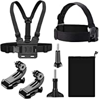 TERSELY [7 in 1] Head + Chest Harness Strap Mount for GoPro Hero 8 7 Black 6 5 4 SJCAM Xiaomi Yi Sport Action Camera, with Quick Clip Elastic Head, Helmet & Chest Mount Screw Sets Accessories