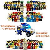 Community Figures Set, Minifigures Set Party Supplies Favors, Educational Goodie Bag Fillers Building Toy Kids DIY Assembling Various Roles | 44PCS & 1 Bricks Police Toy Car | Boys & Girls Age 5+