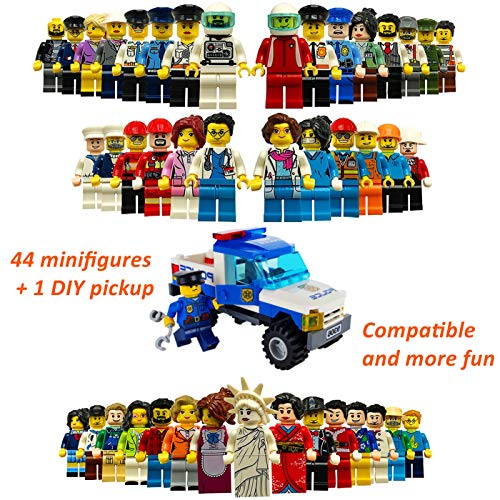 Community Figures Set, Minifigures Set Party Supplies Favors, Educational Goodie Bag Fillers Building Toy Kids DIY Assembling Various Roles | 44PCS & 1 Bricks Police Toy Car | Boys & Girls Age 5+ by KizFun