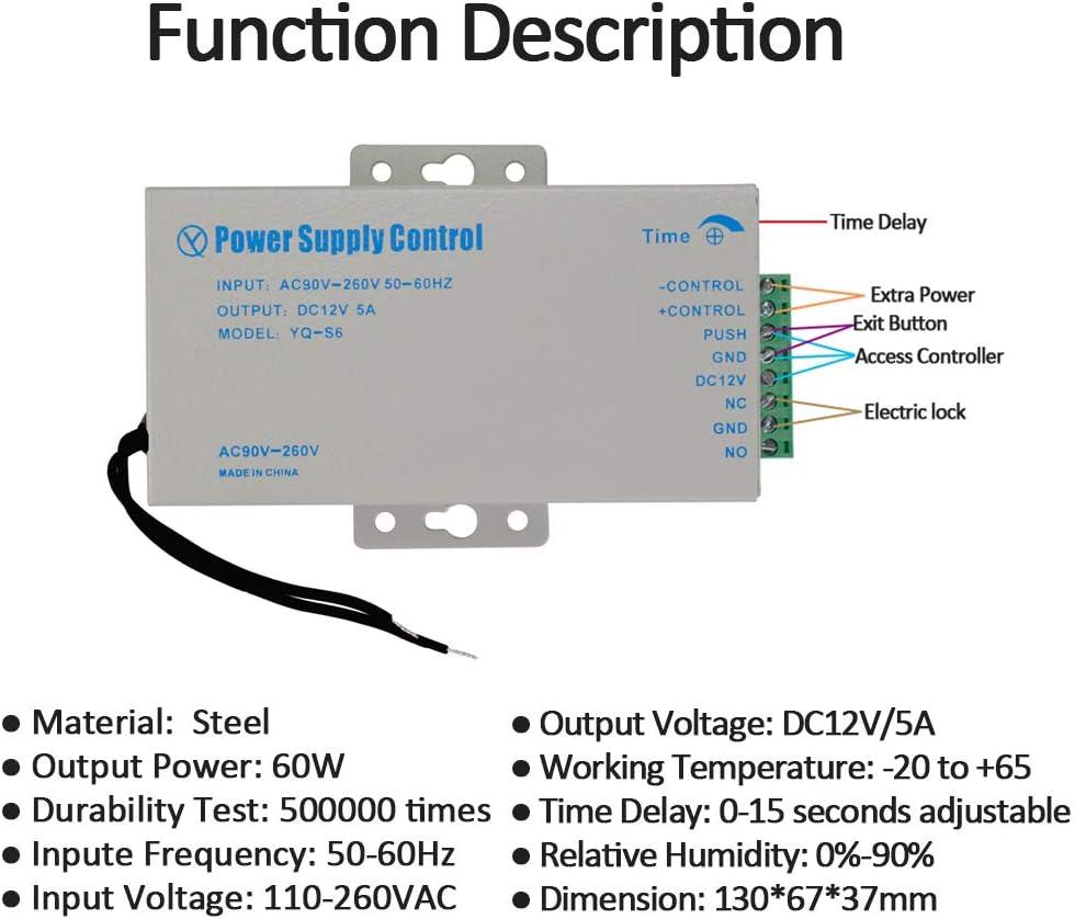 Hdliang DC12V 3A Contr/ôle dacc/ès Commutateur dalimentation Entr/ée 110-260VAC Sortie NO//NC//COM pour contr/ôle dacc/ès de Porte Kit de syst/ème de vid/éophone Access Control Power Supply