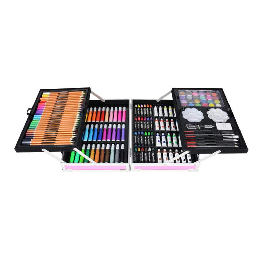 Painting Double-Layer Aluminum Box Watercolor Pen Set Children's Crayon Gift Box Student Stationery Oil Pastels School Supplies (145 Pieces)