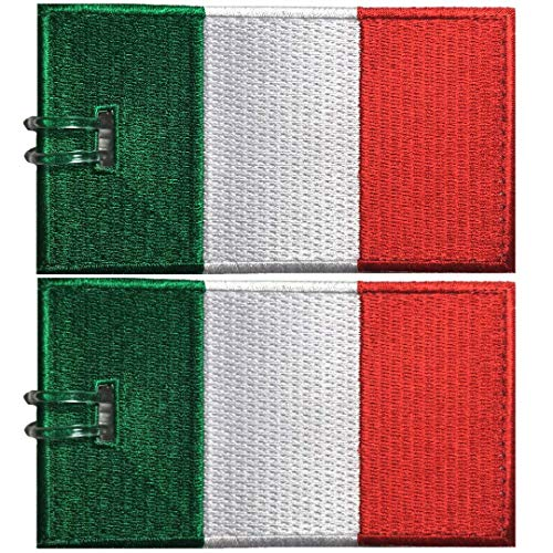 Italy Colors Flag - Luggage Tags, Italy Flag, Embroidered, 2 Pack, 12 COLORS, NEVER BREAK!