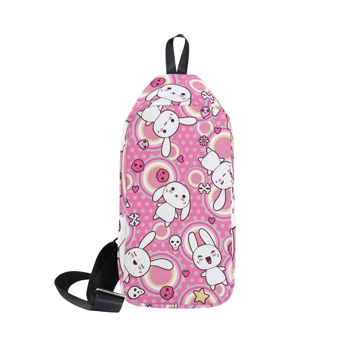 Unisex Messenger Bag Rabbit Sulku Circle Dot Shoulder Chest Cross Body Backpack Bag