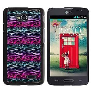 iKiki Tech / Estuche rígido - Zebra Lines Purple Teal Black - LG Optimus L70 / LS620 / D325 / MS323