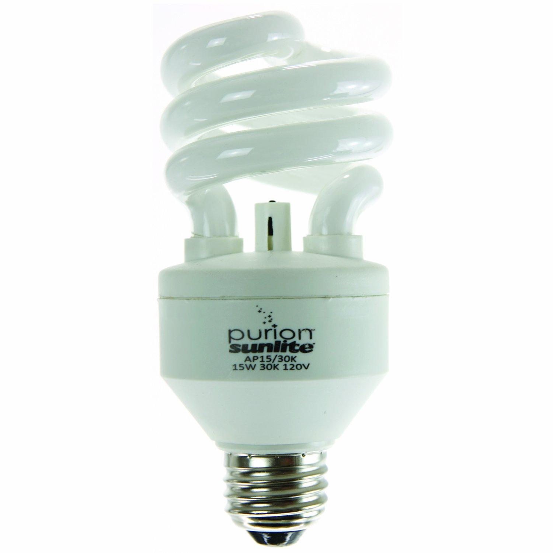 Sunlite AP15/30K 15 Watt Purion Spiral Energy Saving Air Purifying Ionic Light Bulb Medium Base Warm White